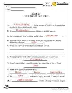 Arts Education Reading Comprehension Quiz - ANSWER KEY