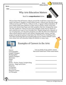 Why Arts Education Matters / Art Careers Worksheet