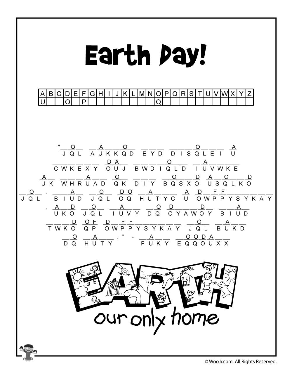 earth day cryptogram puzzle worksheet woo jr kids activities. Black Bedroom Furniture Sets. Home Design Ideas