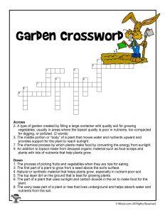 Garden Curriculum Crossword Printable