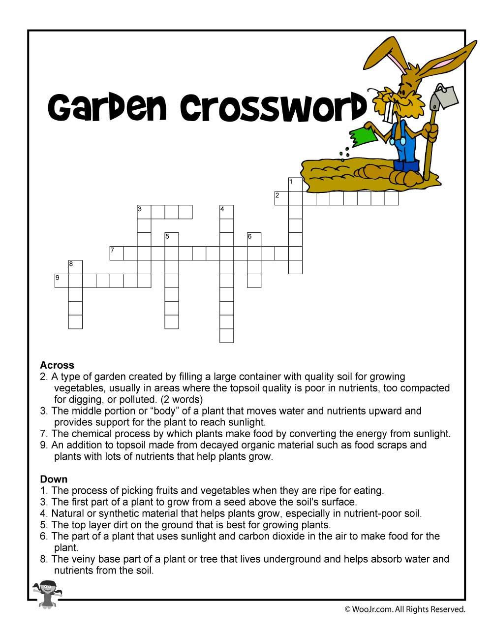 garden curriculum crossword printable woo jr kids activities. Black Bedroom Furniture Sets. Home Design Ideas