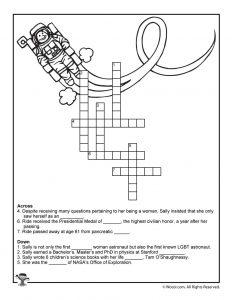 Sally Ride Astronaut Crossword Worksheet