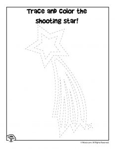 Shooting Star Trace and Coloring Page