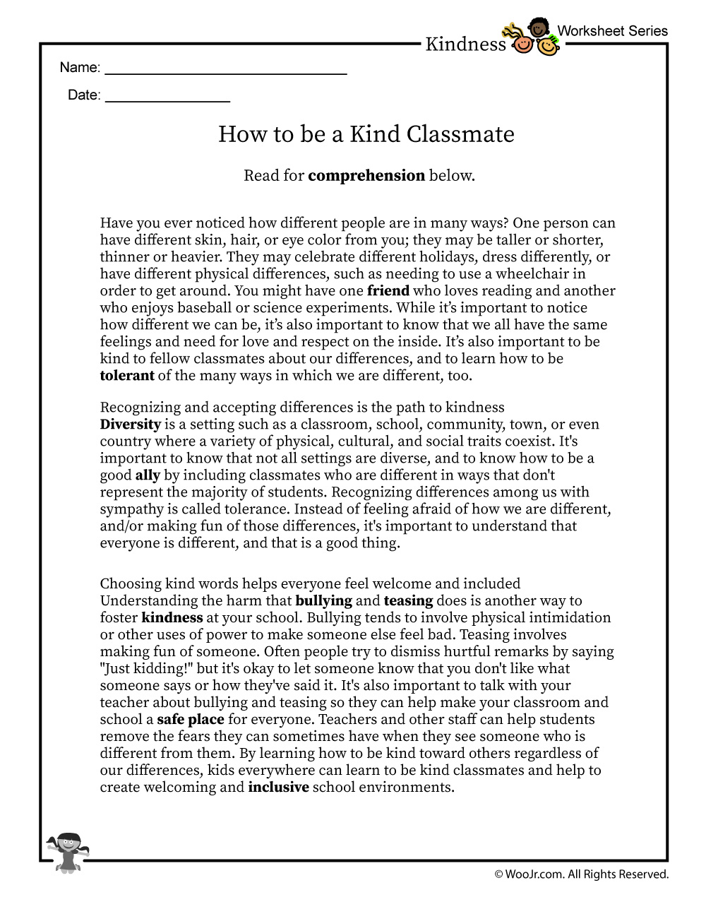 diversity in the classroom reading worksheet