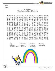 Classroom Kindness & Inclusion Vocabulary Word Search Worksheet