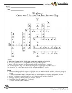 Classroom Kindness & Inclusion Vocabulary Word Crossword Puzzle