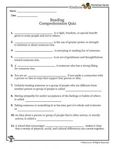 Diversity in the Classroom Reading Comprehension Quiz