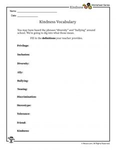 Classroom Kindness & Inclusion Vocabulary Words Worksheet