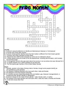 Pride Month Crossword Puzzle