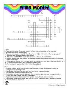 Pride Month Crossword Puzzle