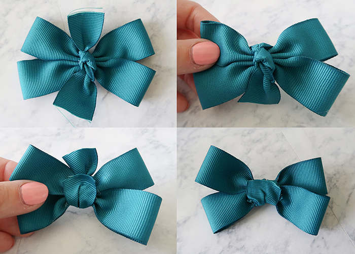 c11823978659 Place the flat side of your knot right on top of the glue. Then take on  loose end of the ribbon and glue it down to the back of the bow.
