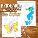 Cute Animal Printable Lacing Cards to Color