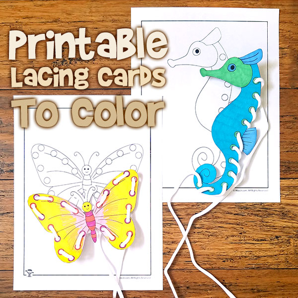 Printable Lacing Cards to Color
