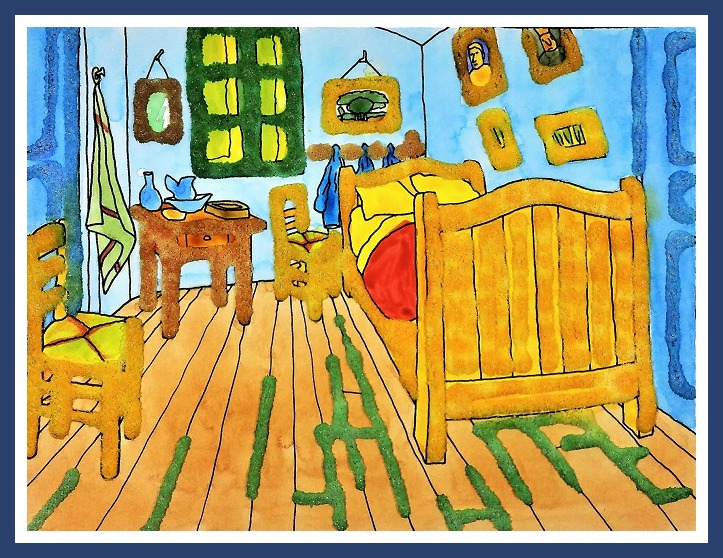 The Bedroom by Vincent Van Gogh: Watercolor Salt Painting For Kids ...