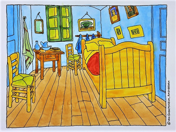 Feel Free To Use Van Goghu0027s Bedroom As Your Inspiration For Color, Or  Choose Your Own Colors. Allow Your Watercolor To Dry Before The Next Step.