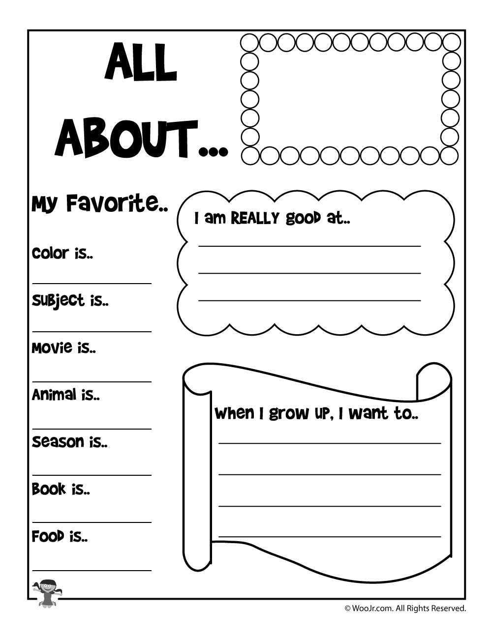all about me printable worksheet woo jr kids activities. Black Bedroom Furniture Sets. Home Design Ideas