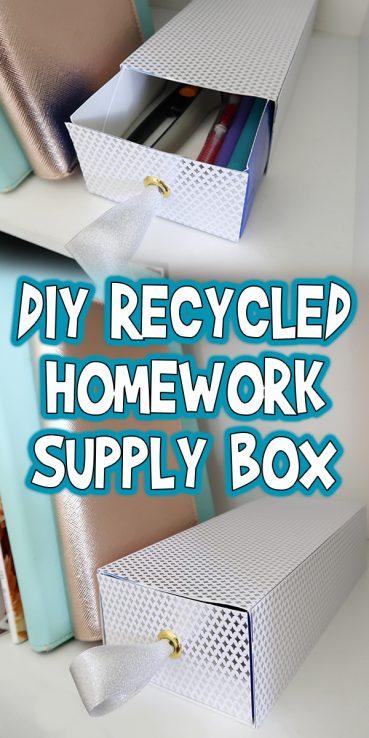 DIY Recycled Homework Supply Box
