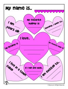 Colorful Hearts About Me Printable