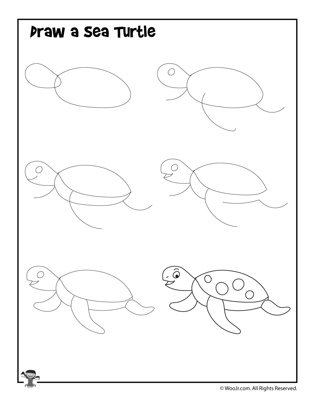 How to Draw a Sea Turtle | Woo! Jr. Kids Activities