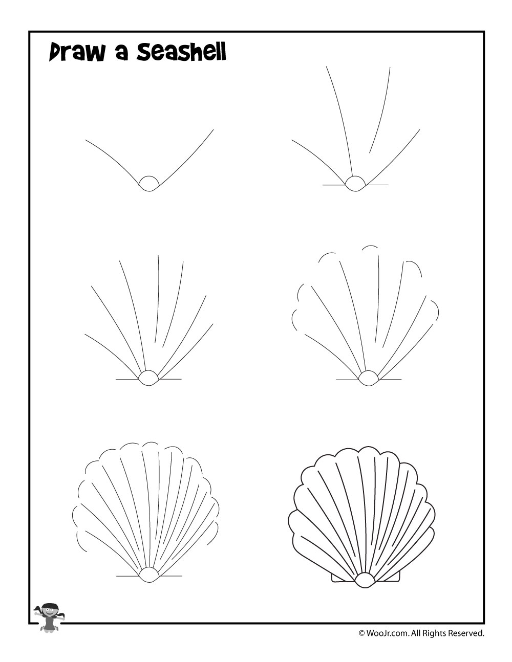 how to draw a seashell woo jr kids activities