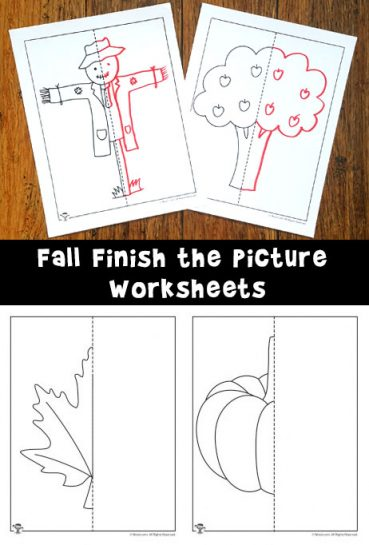 Fall Finish the Picture Symmetry Drawing Worksheets