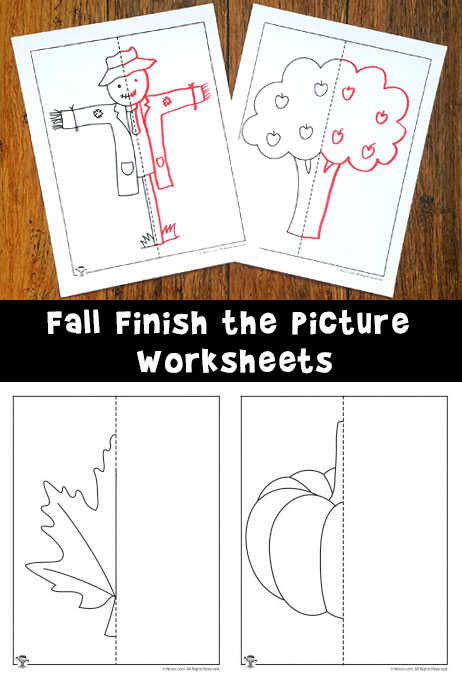 Fall Finish the Picture Symmetry Drawing Worksheets - Woo ...