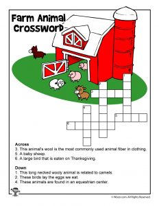 Farming for Kids - Crossword Puzzle Printable
