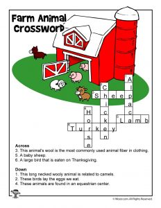 Farming for Kids - Crossword Puzzle Answer Key