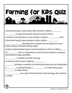 Farming for Kids - Comprehension Quiz