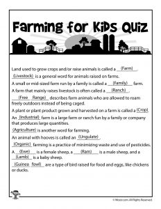 Farming for Kids - Comprehension Quiz Answers
