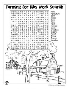 Farming for Kids - Word Search Worksheet