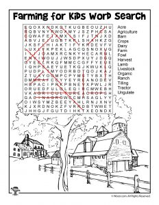 Farming for Kids - Word Search Answer Key