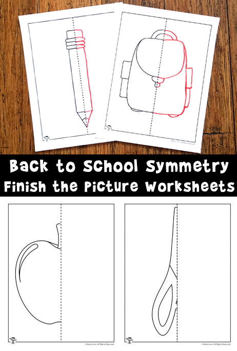 Back to School Symmetry Finish the Picture Worksheets