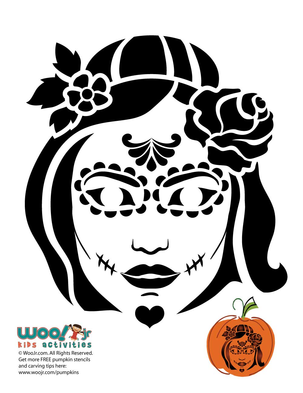 Day of the dead woman pumpkin stencil woo jr kids