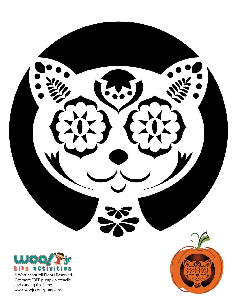 Day of the Dead Pumpkin Carving Stencils | Woo! Jr. Kids Activities