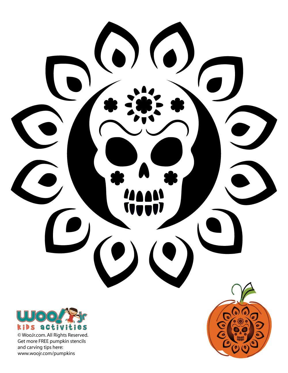 Dia de los muertos pumpkin pattern woo jr kids activities
