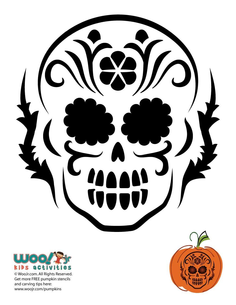 Day Of The Dead Pumpkin Carving Stencils Woo Jr Kids Activities
