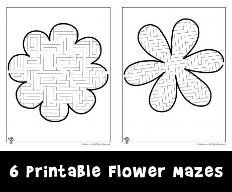 6 Printable Flower Mazes