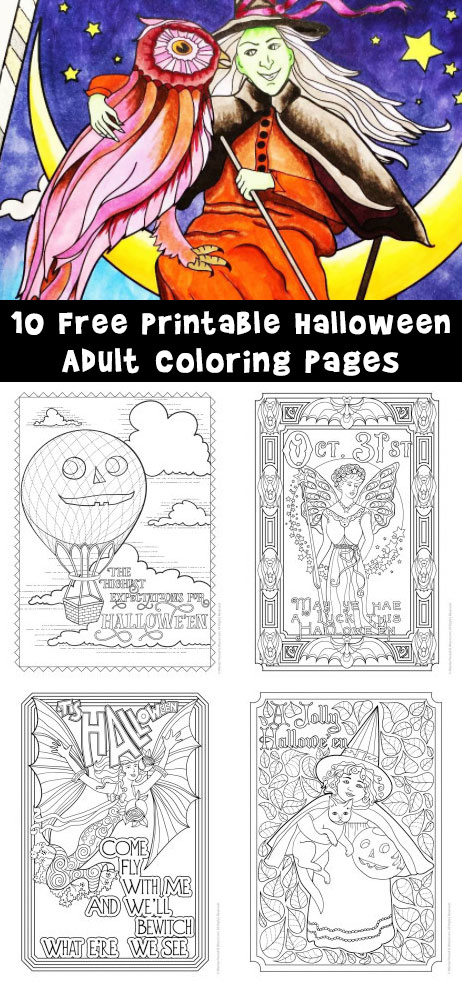 10 Free Printable Halloween Adult Coloring Pages