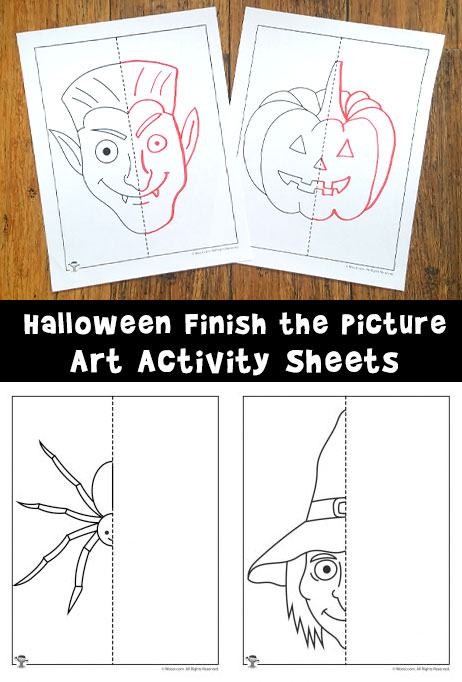 Halloween Finish the Picture Art Activity Sheets