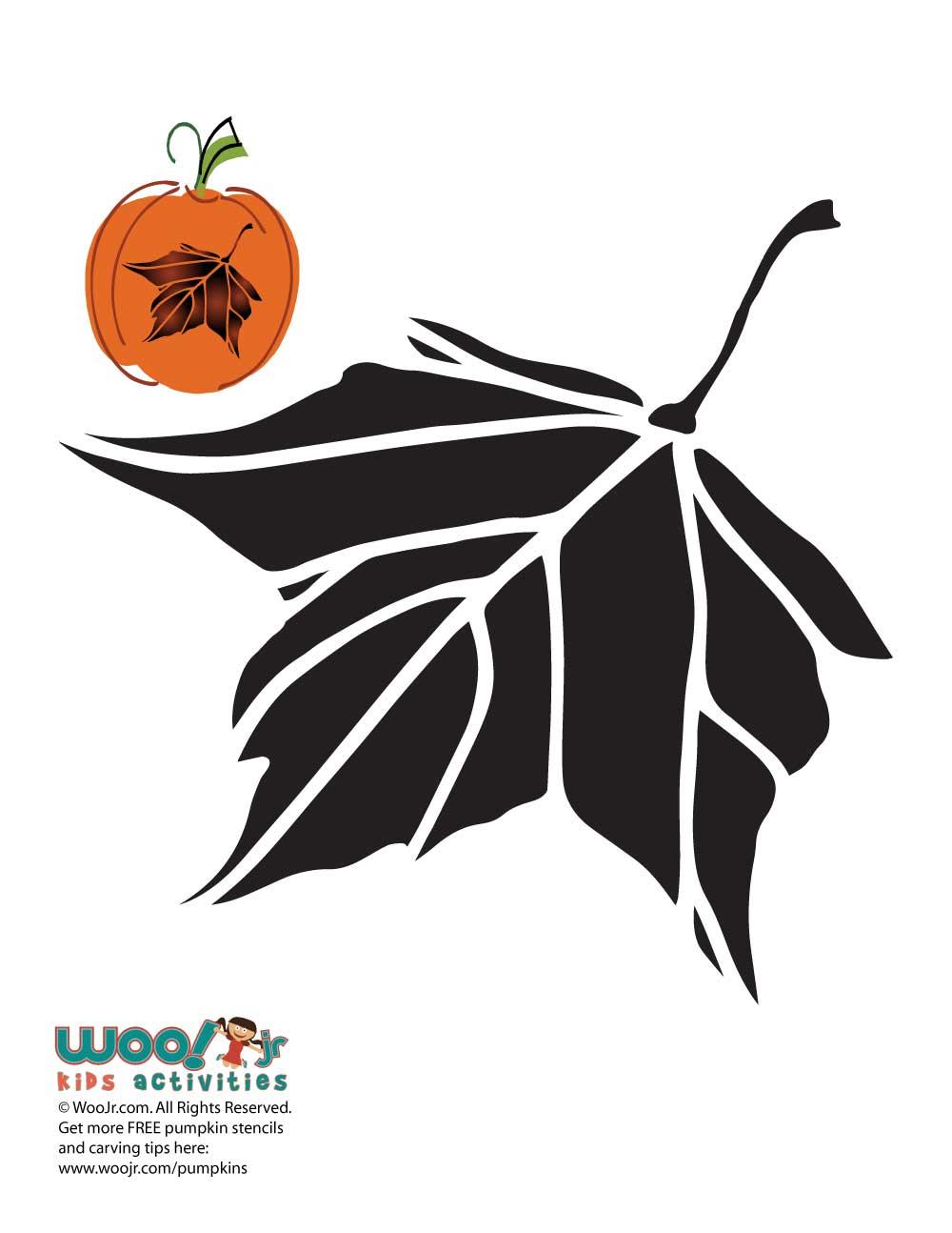 Maple leaf pumpkin carving pattern woo jr kids activities for Fall pumpkin stencils