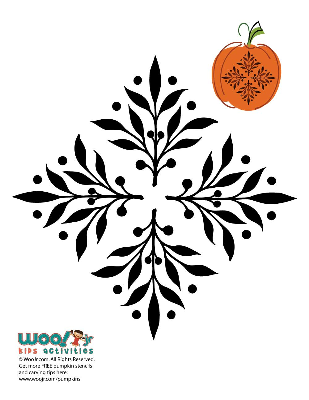 Elegant Ornament Pumpkin Carving Template | Woo! Jr. Kids Activities