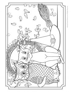 Owl, Pussycat and Witches Hat Adult Coloring Page to Print