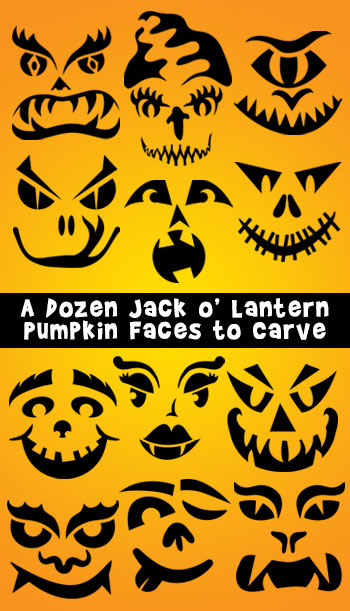 A Dozen Jack o' Lantern Pumpkin Faces to Carve