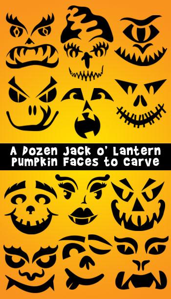 A Dozen Free Pumpkin Faces to Carve