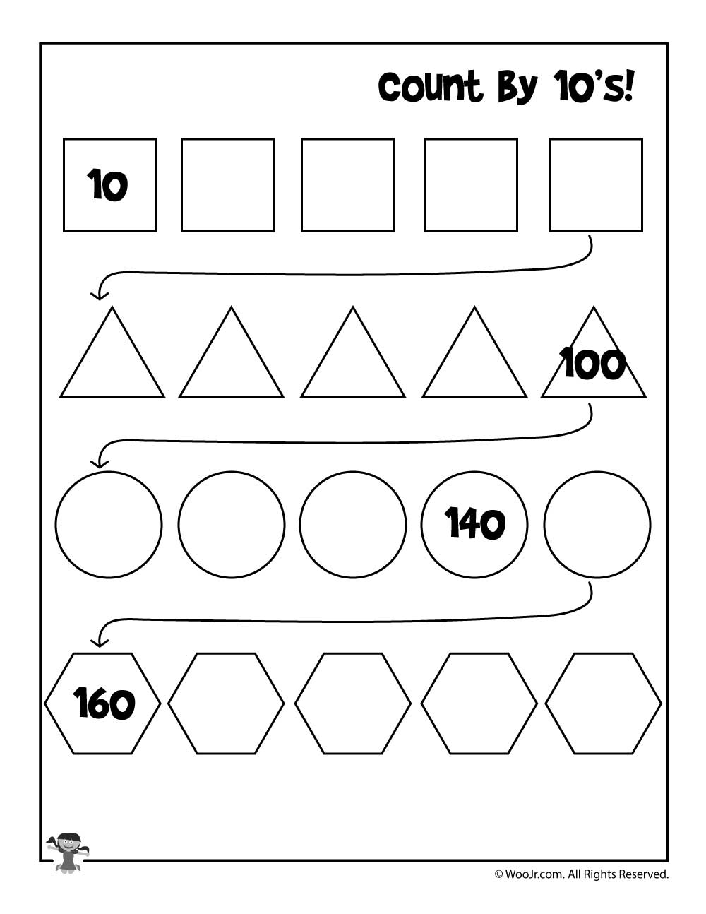 count by 10 39 s worksheet woo jr kids activities. Black Bedroom Furniture Sets. Home Design Ideas