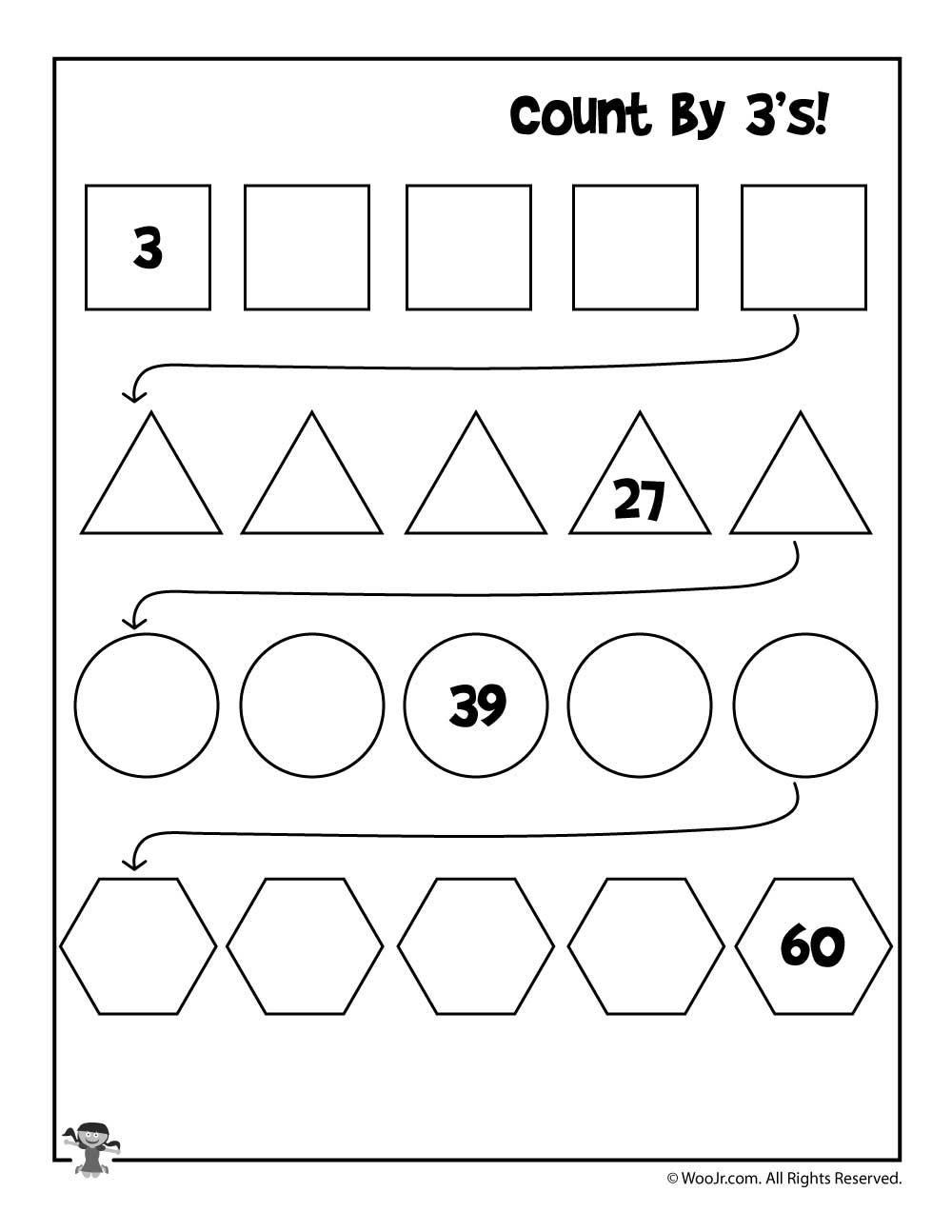 count by 3 39 s worksheet woo jr kids activities. Black Bedroom Furniture Sets. Home Design Ideas