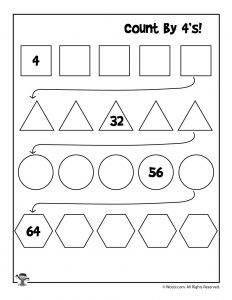 Count by 4's Worksheet