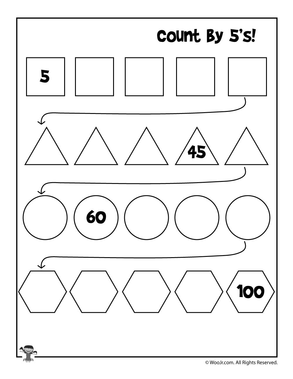 count by 5 39 s worksheet woo jr kids activities. Black Bedroom Furniture Sets. Home Design Ideas