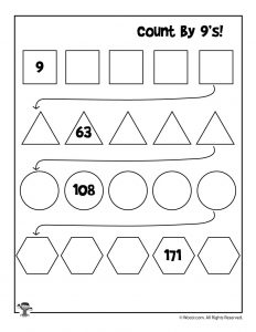 Count by 9's Worksheet